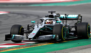 Lewis Hamilton drives the Mercedes W10 during pre-season testing in Barcelona