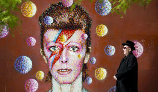 Wall portrait of David Bowie