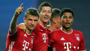 Bayern Munich attackers Thomas Muller, Robert Lewandowski and Serge Gnabry