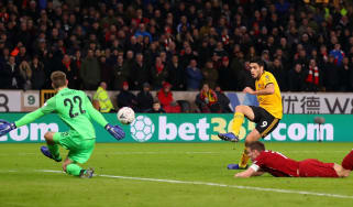 Wolves striker Raul Jimenez opened the scoring in the FA Cup win against Liverpool