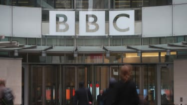 Staff entering BBC Broadcasting House in London.