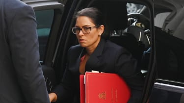 Priti Patel arrives for a cabinet meeting at the Foreign Office.