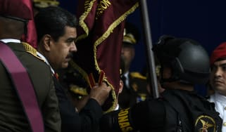 President Nicolas Maduro at the military parade on Saturday