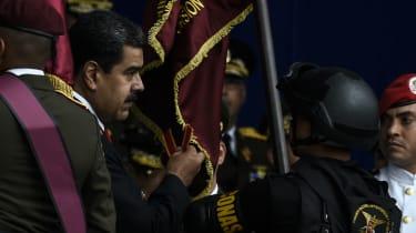 President Nicolas Maduro at the military parade on Saturday