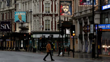 Shaftsbury Avenue Theatre district in central London during the UK's third Covid-19 lockdown