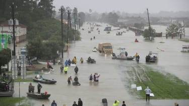 A flooded street in Houston after Hurricane Harvey