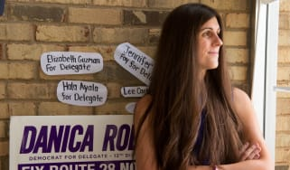 Danica Roem, a Democrat for Delegate in Virginia's district 13, and who is transgender, sits in her campaign office