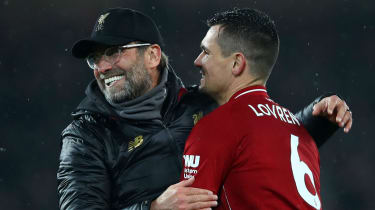 Liverpool manager Jurgen Klopp and defender Dejan Lovren