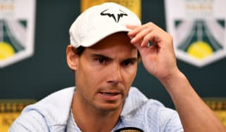 Spanish tennis star Rafael Nadal speaks to the media at the Rolex Paris Masters