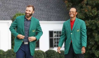 Dustin Johnson and Tiger Woods