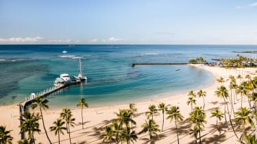 Waikiki Beach, Honolulu, seen from the Hilton resort