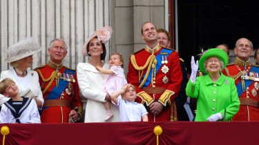 LONDON, ENGLAND - JUNE 11: (L-R) Camilla, Duchess of Cornwall, Charles, Prince of Wales, Catherine, Duchess of Cambridge, Princess Charlotte of Cambridge, Prince George of Cambridge, Prince W