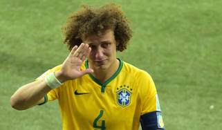 A tearful David Luiz leaves the pitch in Belo Horizonte