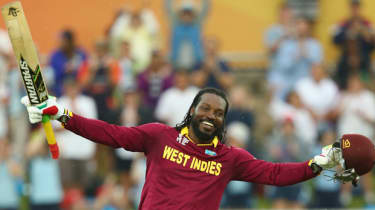 Chris Gayle of West Indies celebrates his double century during the 2015 ICC Cricket World Cup match between the West Indies