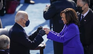 President Joe Biden fist bumps newly sworn-in Vice President Kamala Harris