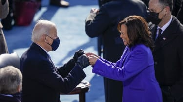 President Joe Biden fist bumps newly sworn-in Vice President Kamala Harris