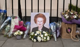 Flowers and mementos left by members of the public and admirers sit outside the home of former British Prime Minister Margaret Thatcher in central London on April 8th 2013. Former British pri