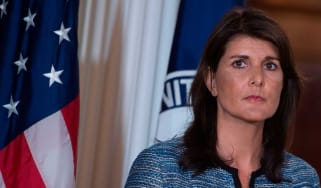 US envoy to the UN Nikki Haley announces the withdrawal from the human rights council