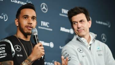 Formula 1 world champion Lewis Hamilton and Mercedes team boss Toto Wolff