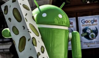 A picture taken on September 21, 2016 shows a statue donated by Google during its inaugurationin Montelimar, as Google decided to launch a new version of the android operating system called A