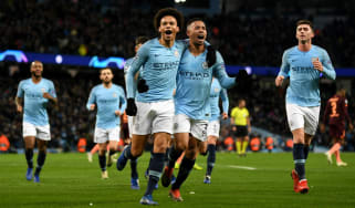 Manchester City's Leroy Sane celebrates his first goal against Hoffenheim