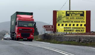Traffic crosses the border into Northern Ireland from the Irish Republic