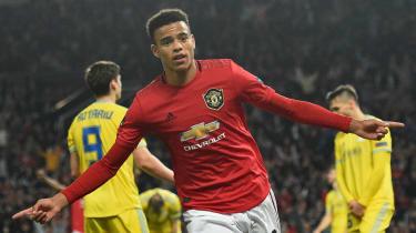Manchester United striker Mason Greenwood celebrates his winning goal against Astana