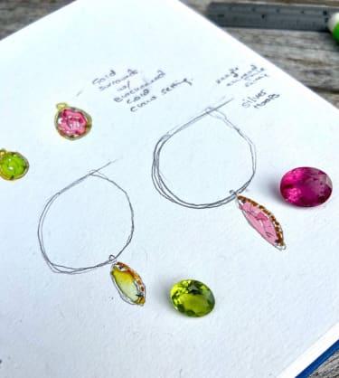 Minka jewel designs on paper