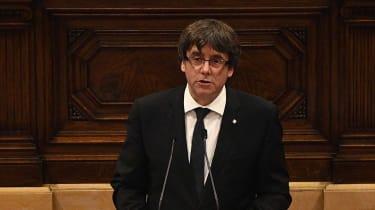 Catalan President Carles Puigdemont suspends declaration of independence