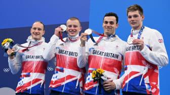 Team GB swimmers Luke Greenbank, Adam Peaty, James Guy and Duncan Scott