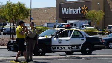 Las Vegas PD cordon-off the Wal-Mart crime scene