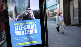 A sign warning people to self-isolate if contacted by NHS Test and Trace