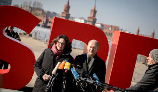 Andrea Nahles, parliamentary leader of SPD party, and interim leader Olaf Scholz