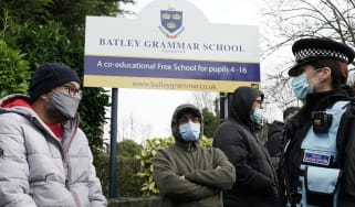 Protesters outside Batley Grammar School