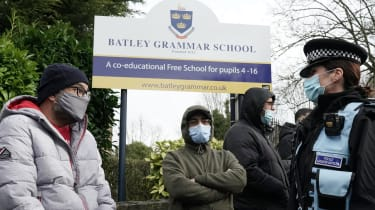 Protesters outside Batley Grammar School