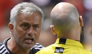 Jose Mourinho argues with the referee during Manchester United's pre-season tour of the US