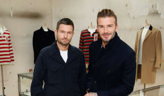 LONDON, ENGLAND - SEPTEMBER 17:(L-R) Creative Director Daniel Kearns in partnership with David Beckham presents the relaunch of Kent & Curwen at Kent & Curwen, Mayfair on September 17, 2016 i