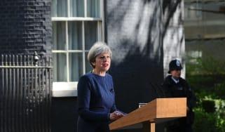 Theresa May outside No 10