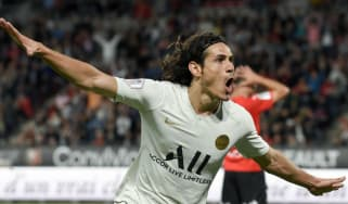 Uruguayan striker Edinson Cavani celebrates scoring for Paris Saint-Germain