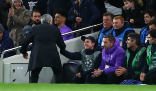 Tottenham manager Jose Mourinho thanks the quick-thinking ball boy