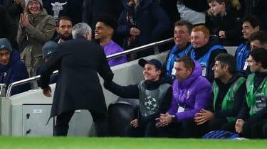 Tottenham manager Jose Mourinho thanks the quick-thinking ball boy