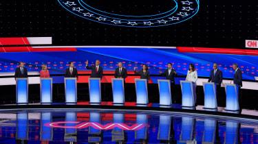 DETROIT, MICHIGAN - JULY 31:Democratic presidential candidates Sen. Michael Bennet (D-CO) (L-R), Sen. Kirsten Gillibrand (D-NY), former housing secretary Julian Castro, Sen. Cory Booker (D-NJ
