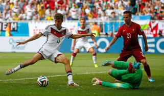 Thomas Muller scores against Portugal