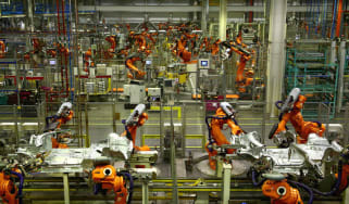 An automated production line at a BMW Mini factory in Oxford