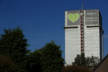 LONDON, ENGLAND- APRIL 23: A general view of Grenfell Tower, where a severe fire killed 72 people in June 2017, on April 23, 2020 in London, England. The British government has extended the l