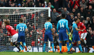 Fellaini goal Manchester United 2 Arsenal Premier League