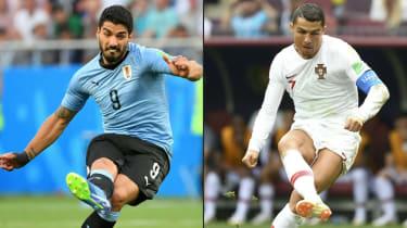 World Cup round of 16 Uruguay vs. Portugal Luis Suarez Cristiano Ronaldo