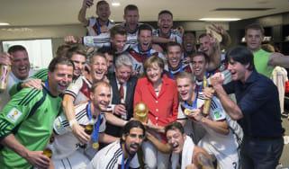 Angela Merkel with the German football team