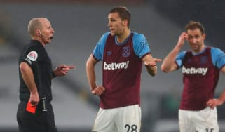 Referee Mike Dean sent off West Ham midfielder Tomas Soucek