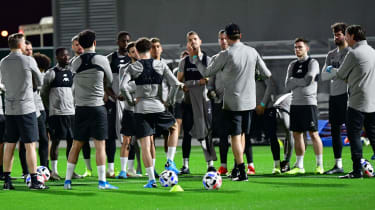 Liverpool players take part in training ahead of their Club World Cup semi-final in Qatar
